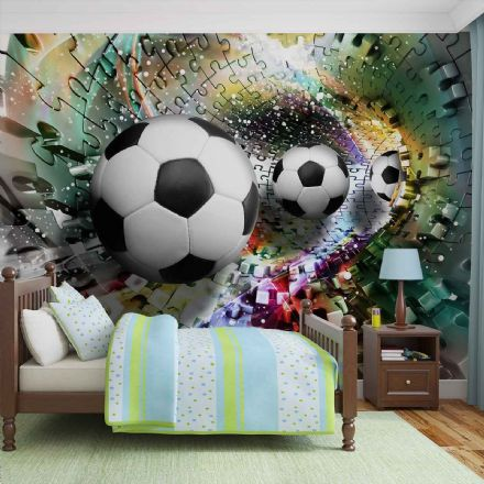 Giant non-woven wallpaper murals  Colorful Puzzle Football 3381